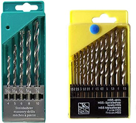 DeoDap Drill Bit Set of 13 for Wood, Malleable Iron, Aluminium, Plastic and Masonry with Set of 5 Pieces for Concrete and Brick Wall Drilling
