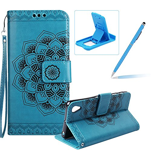 Rope Leather Case for Xperia XA1 Ultra,Strap Wallet Case for Xperia XA1 Ultra,Herzzer Bookstyle Classic Elegant Blue Mandala Flower Pattern Stand Magnetic Smart Leather Case with Soft Inner