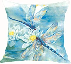 ASTIHN Blue Watercolor Two Dragonflies White Lotus Cotton Linen Throw Pillow Cover Cushion Case Home Chair Office Decorative Square 18 X 18 inches