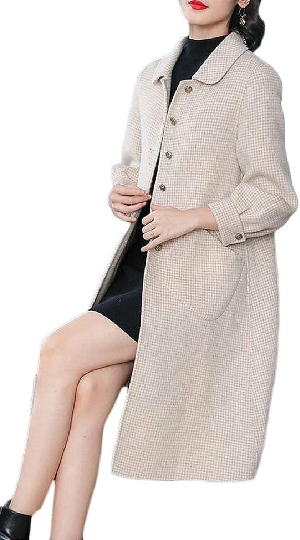 LEISHOP Womens Lapel Houndstooth Trench Coat Wool Coat Overcoat