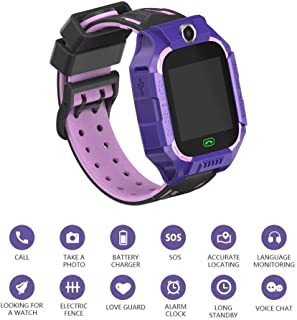 Ronshin Smartwatches Kids Smart Watch Phone Kids GPS Tracker Watch with SOS Anti-Lost Alarm Sim Card Slot Touch Screen Alarm Clock Digital Wrist Watch E12 for Boys and Girls purple