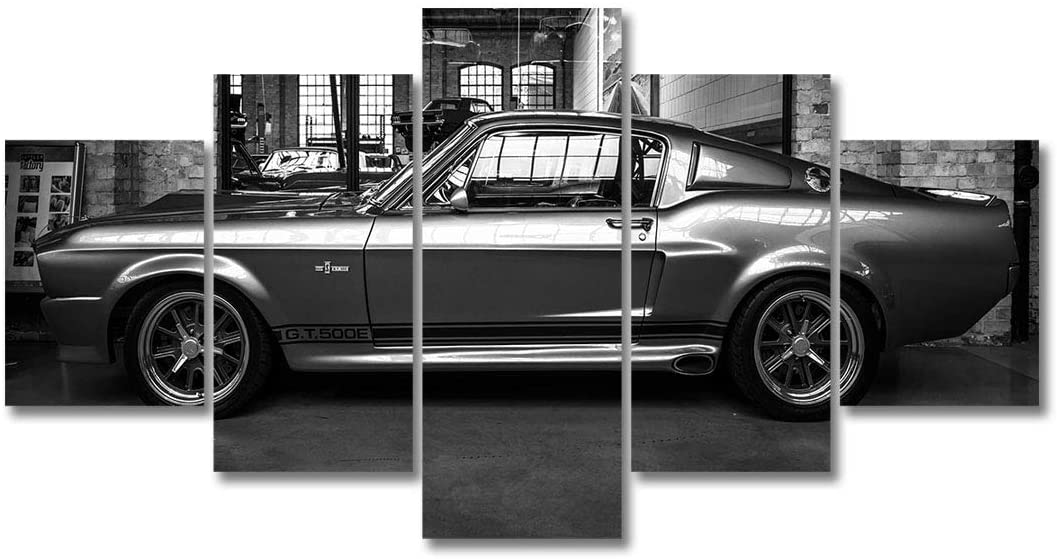 HD Printed Car Art Painting 5P Wall Decor FORD MUSTANG GT500 ELEANOR CANVAS SET Canvas Decor Painting (12x20x2 12x26x2 12x32,With frame)