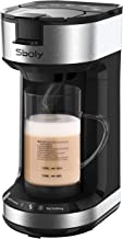 Single Serve Coffee Maker with Milk Frother, 2-Way Coffee Machine for K-Cup Pods & Ground Coffee, Brew and Froth for Cappuccino and Latte, with 20 oz Glass Frothing Mug by Sboly