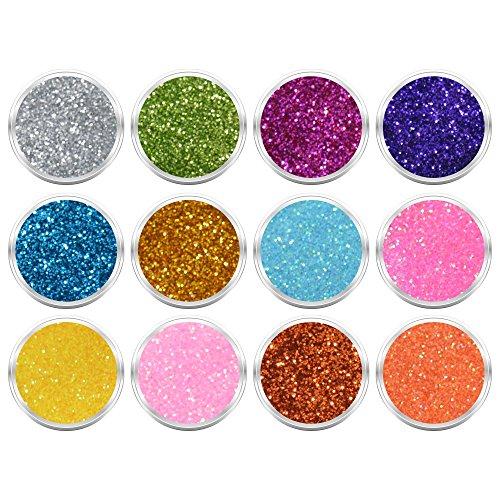12 Döschen Nailart Glitzerpuder Glimmer Glitter Glitterstaub Set 001 in verschiedene irisierenden Farben