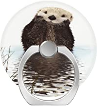360 Degree Finger Stand Cell Phone Ring Holder Car Mount with Hook for Smartphone-Adorable Smiling Otter in Lake