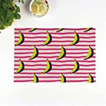 rouihot Set of 8 Placemats Pink Warhol Doodle Bananas on Stripy Yellow Andy Pattern Non-Slip Doily Place Mat for Dining Kitchen Table