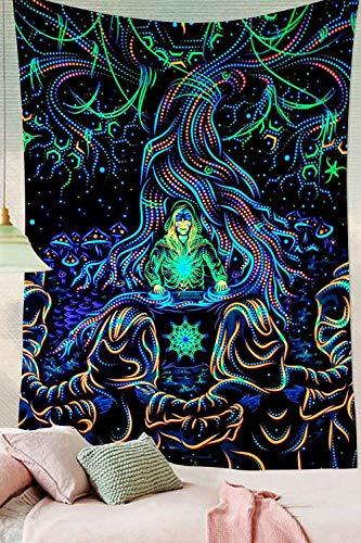 WERT Tapiz de Cuervo, misteriosa meditación vikinga, runas psicodélicas, tapices artísticos para Colgar en la Pared para decoración de Sala de Estar, A20 95x73cm