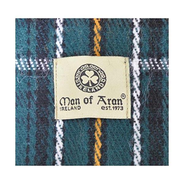 "Man Of Aran Celtic Irish Gents Acrylic Scarf with Green, White & Yellow Tartan Design 8"" X 62"""