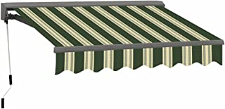 ADVANING 12'X10' Motorized Patio Retractable Awning | Classic Series | Premium Quality, 100% Acrylic UV Sun Shade Awning, Color: Forest Green Stripes, EA1210-A230H