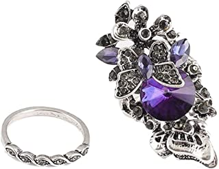 Women Creative Design Retro Amethyst Inlay Butterfly Ring Crystal Lover Ring Pretty Lady Ring for Girls 2 Sets