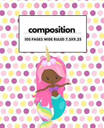 Composition: Unicorn Cute African American Girl: Get Organized with this back to school student notebook or journal makes a great gift for kids, girls, boys and teachers for the classroom experience.