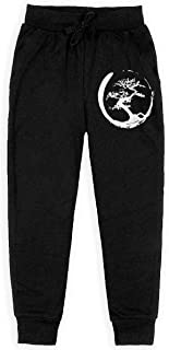 Men Relaxed Sweatpant, 100% Cotton Zen Bonsai Tree in Enso Circle-1 Activewear for Youth