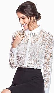 Camisa Feminina de Renda Off White Principessa Ana Rita