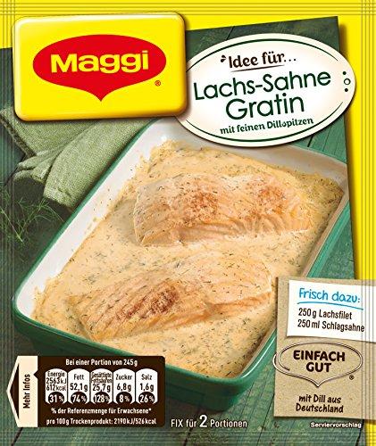 Maggi Fix für Lachs-Sahne Gratin, cremige Sauce mit feiner Dillnote, ergibt 2 Portionen, 28er Pack (28 x 1.092 kg)