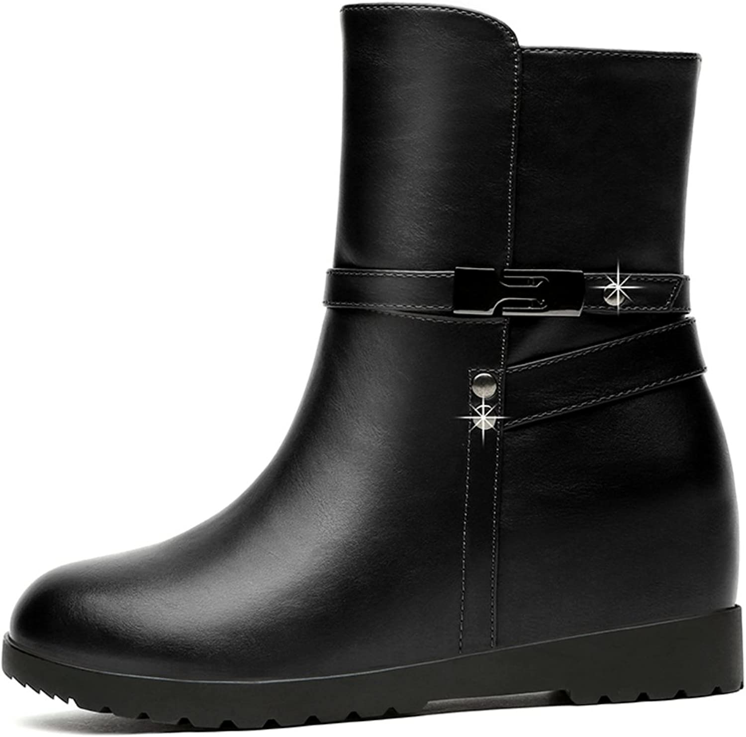 Lusam feeling Women's Patty Snow Boots, Black   Rubber Ankle Wide Calf Fit Boots for Women
