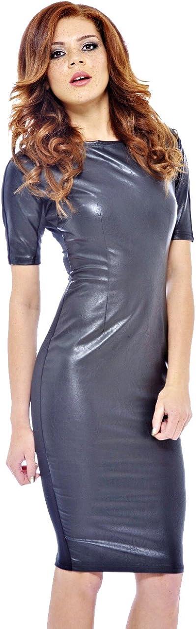 AX Paris Women's Faux Leather Front Midi Dress