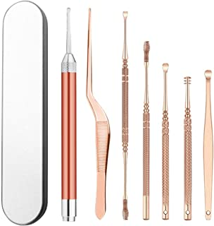 Ear Wax Removal Tool Kit with Light,7 in 1 Ear Pick for Kids and Adults, Q-Grips Earwax Remover with Storage Box (Rose Gold)
