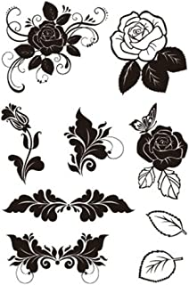 Floral Leaves Rose Flowers Scrapbook DIY Photo Cards Rubber Stamp Clear Stamps Transparent Stamp