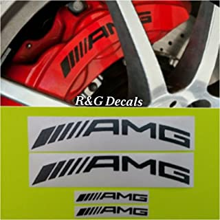 R&G AMG CURVE High Temp Brake Caliper Decal Sticker Set of 4 Decals (Black)