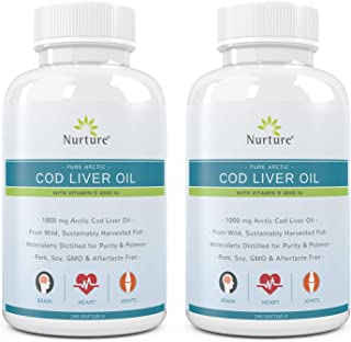 Sponsored Ad - Pure Arctic Cod Liver Oil with Vitamin D 4000 IU (2-Pack) | 1000 mg Cod Liver Oil – Promotes Brain, Joint &...