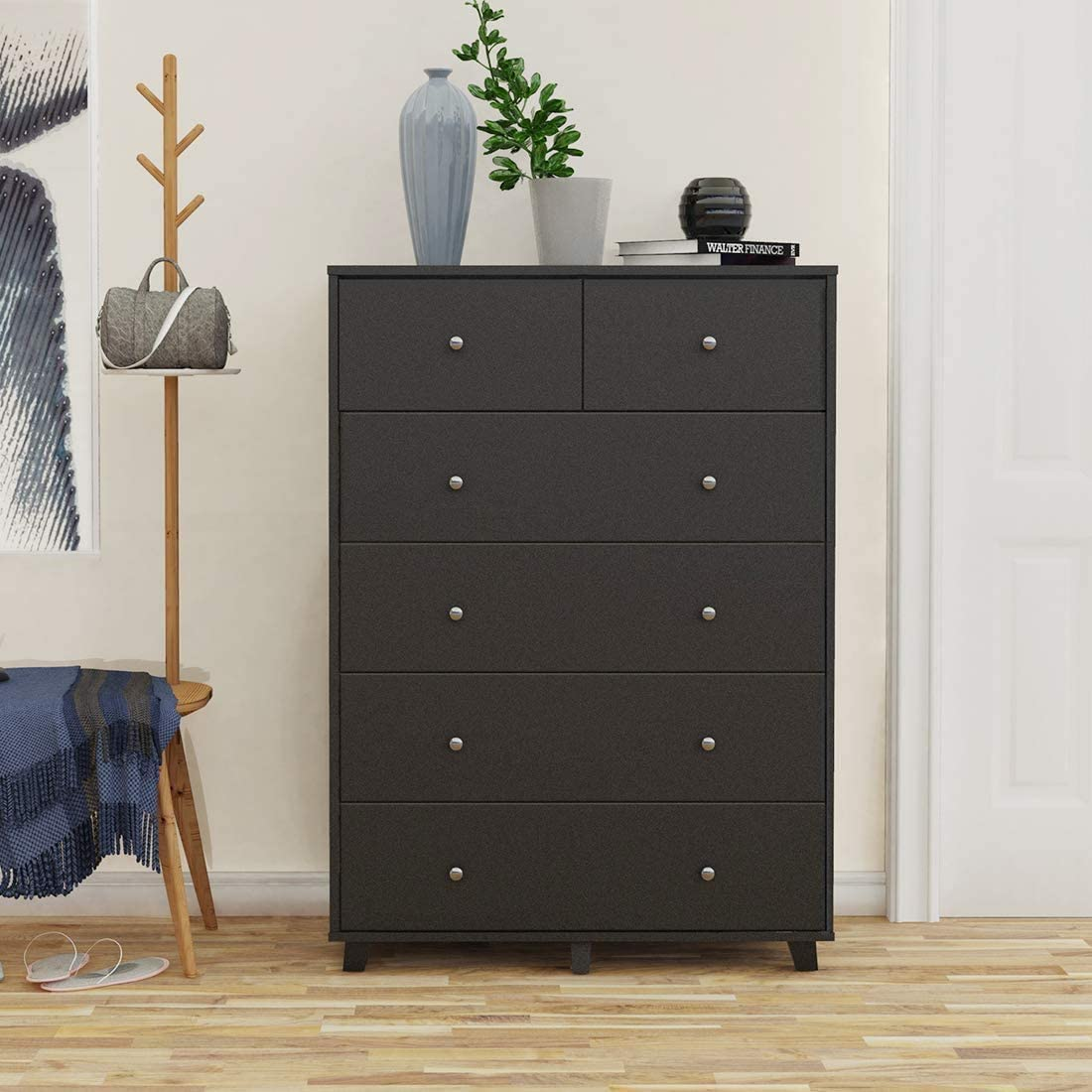 Cozy Castle 6-Drawer Dresser Wood Drawe of Super sale period limited Black Brand new Chest