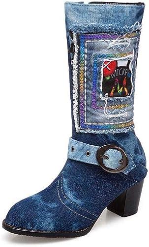 Bottes pour Les Les dames de Mode épais avec tête Ronde à Talons Hauts Grande Taille 34-43 Tube de Cowboy pour Femmes