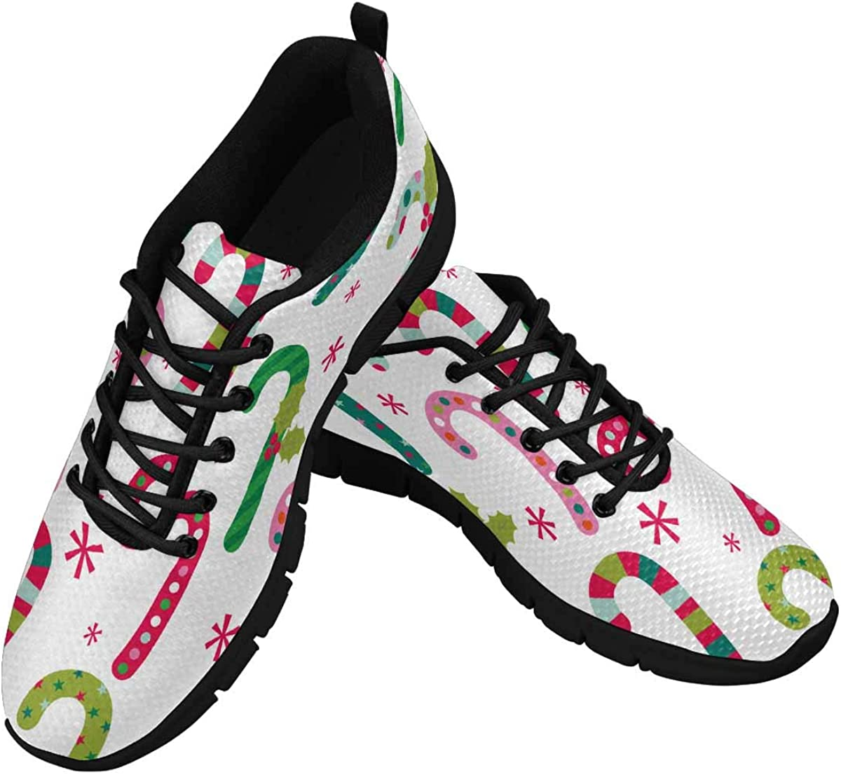 INTERESTPRINT Fun Christmas Candy Pattern Women's Lightweight Athletic Casual Gym Sneakers