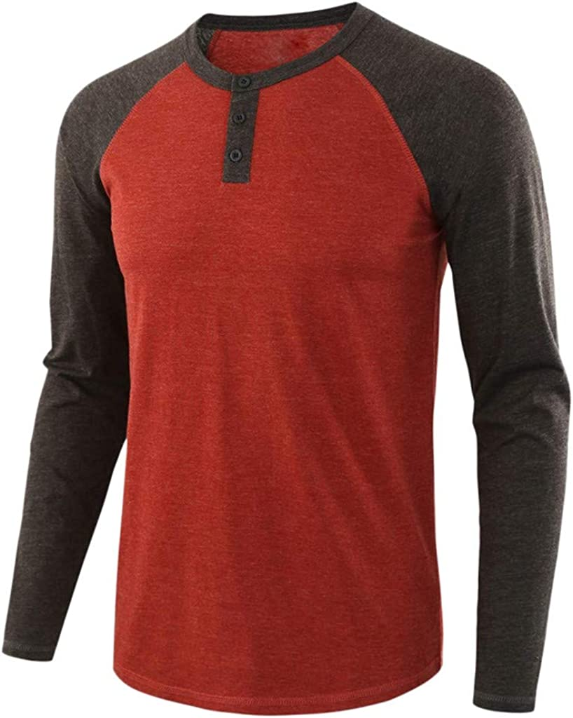 VEKDONE Mens Casual Long Sleeve Raglan T-Shirt Henley V-Neck Sports Jersey Baseball Tee Active Shirts Tops