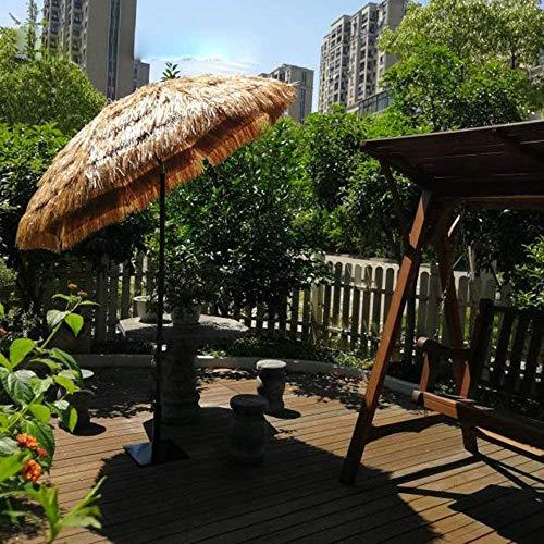 Parasol Grand Piscine de 2m Parapluie Paille Balcon Rond inclinable en tiki Couleur Naturelle de chaume Hula Parapluie en Raphia pour Bar Patio hawaïen