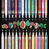 YITHINC 28 Farben 0.7mm Acrylstifte Feine Spitze Wasserfeste Stifte,Acrylstifte Marker Stifte für Steine,Kieselsteine, Glas, Keramik, Porzellan,Extrafeine Spitze