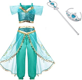 Arabian Princess Aladdin Dress up Costume Girls Sequined Jasmine Cosplay Kids Halloween