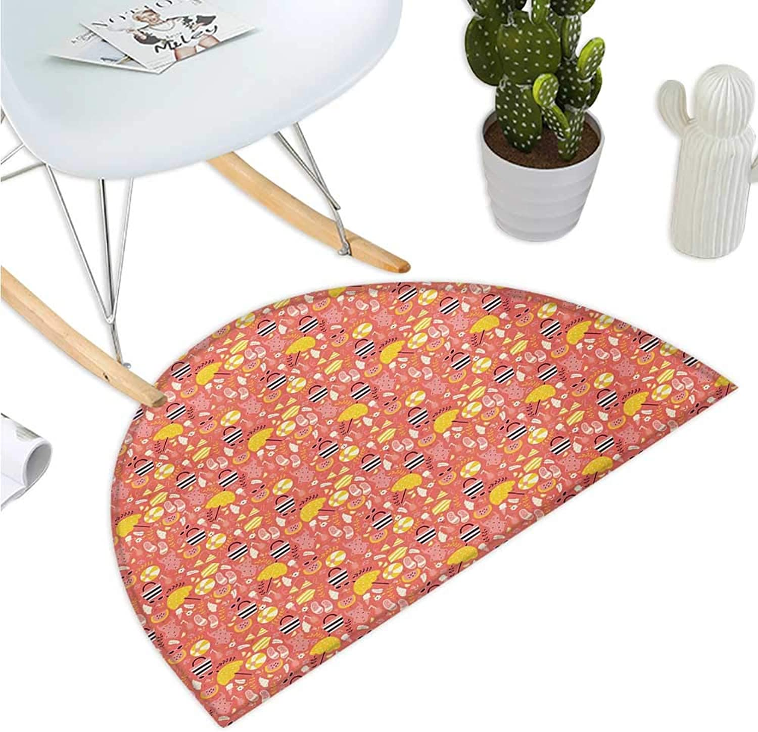 Beach Semicircular Cushion Hand Drawn Doodle Summer Pattern with Flip Flops Sunglasses Swimwear and Umbrella Entry Door Mat H 47.2  xD 70.8  Multicolor