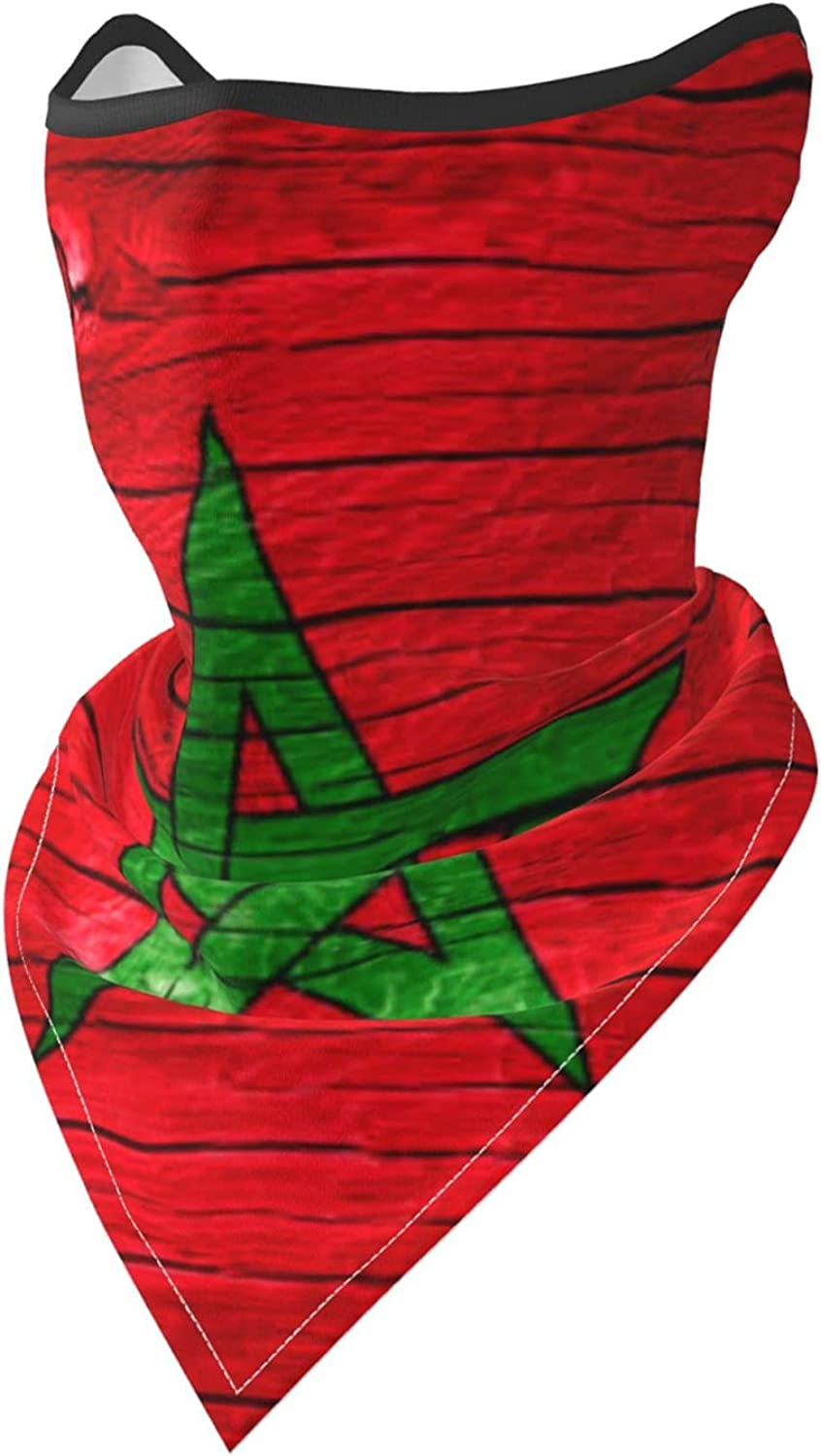 Moroccan Flag Wooden Texture Breathable Bandana Face Mask Neck Gaiter Windproof Sports Mask Scarf Headwear for Men Women Outdoor Hiking Cycling Running Motorcycling