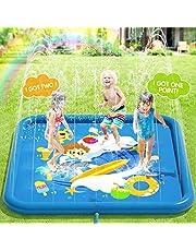 Peradix Splash Pad Tapete de Agua Chapoteo Almohadilla Aspersor de Juego PVC Salpica de Jueg Agua para Actividades Juegos Aire Libre para Niños(Azul)