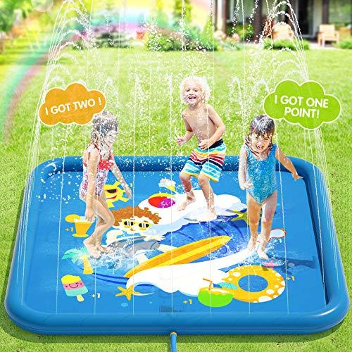 Peradix Splash Pad, Tapete de Juegos de Agua 170CM Almohadilla de Aspersor de Juego, Jardín de Verano Juguete Acuático para Niños,Almohadilla de Rociadores,PVC Splash Play Mat, Piscina Tapete Acuático
