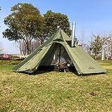 LQPHY Carpas al Aire Libre Carpa Tipi Impermeable Four Seasons Carpa piramidal Familiar Camping Mochilero Senderismo Montañismo Refugio climatizado Chimenea ahumada Fácil instalación para 1-3 pers