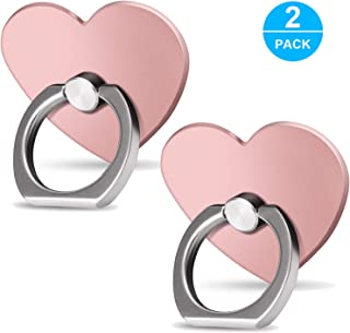 Cell Phone Ring Holder Finger Kickstand (2 Pack) - ifab 360° Rotation Metal Phone Grip/Stand/Holder - Compatible with Almost All Phones/Cases iPhone Tablet Samsung Galaxy Smartphone - Rose Gold Heart