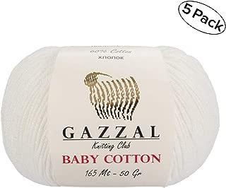 Gazzal Baby Cotton 1.76 Oz (50g) / 150 Yrds (165m) Soft, Fine Baby Yarn, 60% Cotton(White - 3410)