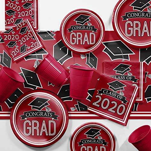 Graduation Class of 2020 School Spirit Red Party Supplies Kit, Serves 18