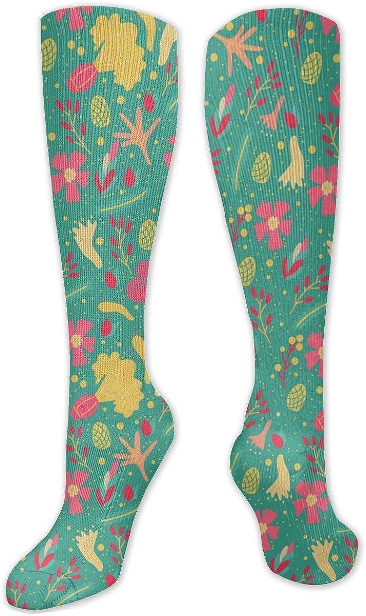 Flowers Pattern Patterns Knee High Socks Leg Warmer Dresses Long Boot Stockings For Womens Cosplay Daily Wear