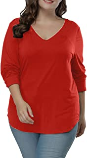Plus Size Tops Long Sleeve Women Casual Loose Top Asymmetric Hem V Neck T Shirts