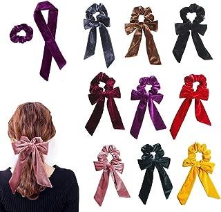 9Pcs Hair Scrunchies Ribbon Bowknot Velvet Elastics Hair Bands Scrunchy Hair Rope Ties Hair Bow Ponytail Holder Accessories for Women Girls