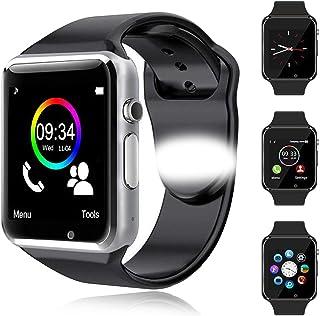 Reloj Inteligente Android con Ranura para Tarjeta SIM, Reloj Inteligente para Hombres y Mujeres, Reloj Deportivo con Podómetro y Cronómetro, Reloj Inteligente Bluetooth, para Android iOS(Plata)