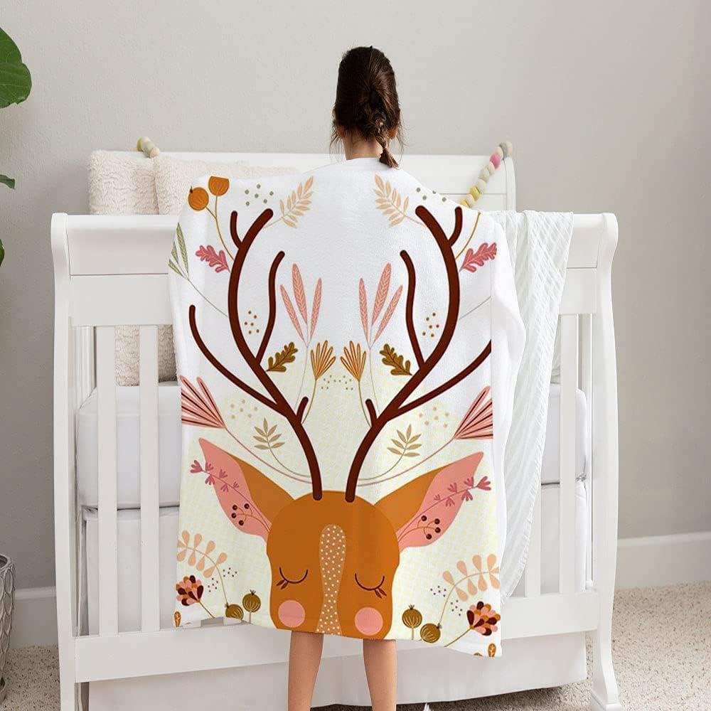 LPVLUX Elk Floral Moose Animal Super special price Fleece Philadelphia Mall Soft Cozy Blanke and