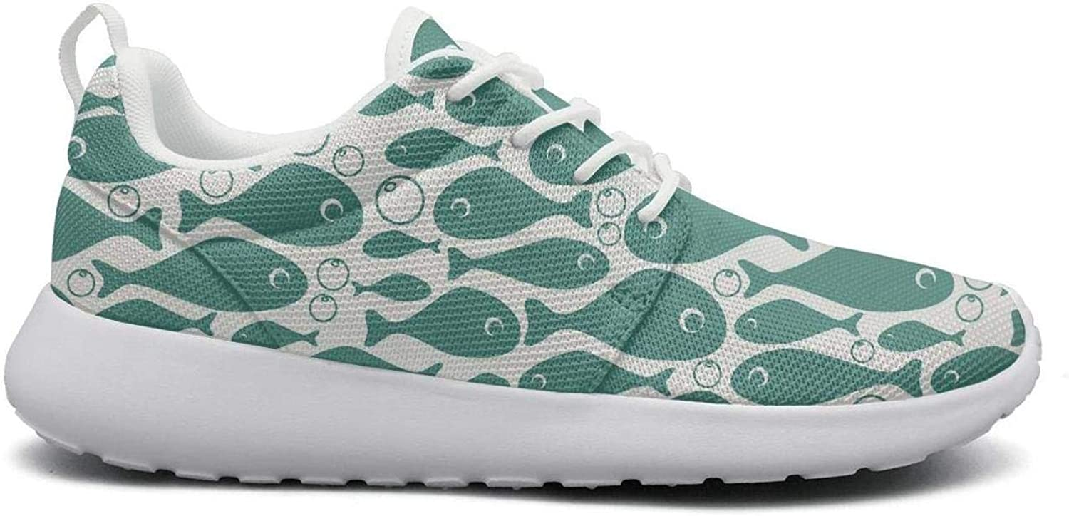 Ipdterty Wear-Resistant Camping Sneaker Fishes Pattern Women Girls Unique Athletic Running shoes