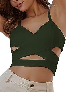 Radish Stars Sexy V-Neck Cut Out Crop Top Cross Spaghetti Strap Shirt Blouse Camis Vest