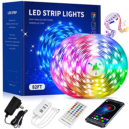 82Ft/25M LED Strip Lights, App Controlled Music Sync LED Strips, 5050 RGB LED Light with Remote Control ,for Bedroom, Room, Home Decoration