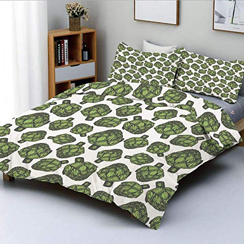 Qoqon Duvet Cover Set,Detailed Drawing of Super Foods Fresh Vitamin Sources Natural Nutrition SourceDecorative 3 Piece Bedding Set with 2 Pillow Sham,Forest Green,Best Gift for Kids