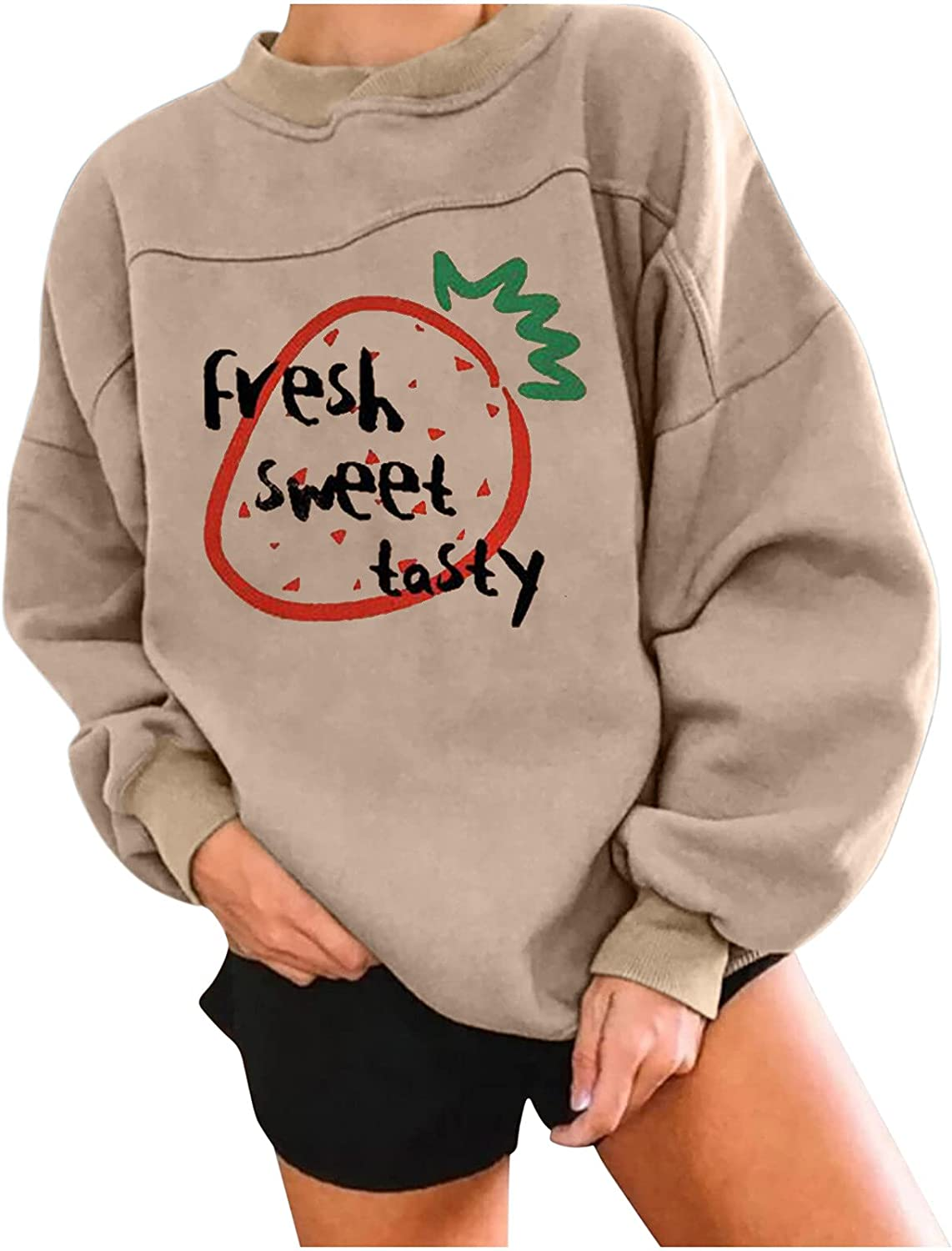 Pullover Tops for Women Long Sleeve Sweatshirts Cute Graphic Shirts Plus Size Winter Loose Blouse(XXL,Khaki)