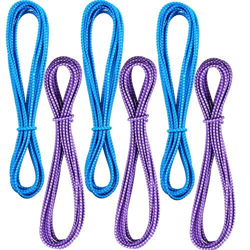 Chinesisches Springseil, 157 Zoll, verstellbar, chinesisches elastisches Seil, für Outdoor-Übungen (Violett, Blau), 6 Stück